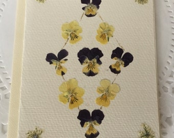 Pansy Diamond Note Card, Pressed Flowers Outside and Inside Cream Greeting Card, Real Pansies and Queen Anne's Lace