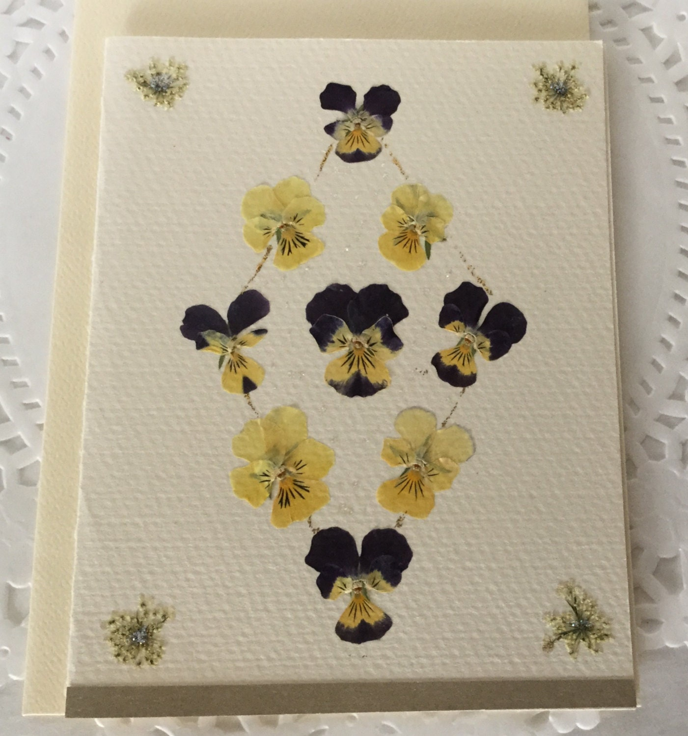 pansy diamond note card pressed flowers outside and inside