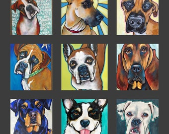 Custom Pet Portraits on Canvas Dog Art Pet Paintings Home Goods Wall Art Pop Art Dogs