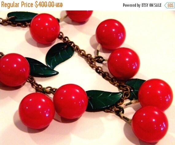 Bakelite Cherries on Brass Chain