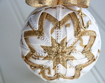 Quilted Christmas Ornament Ball/Gold and White - Anchors Away