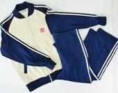 Vintage 80's Adidas Track Jogging Suit Men's Medium White Navy Jacket Pants Set