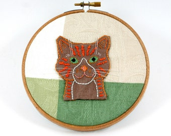 Cat portrait, embroidery hoop art, tiger kitty, brown fur, orange stripes, green eyes, pussy cat applique, round wood frame, OOAK wall decor