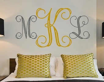 15% OFF Personalized Monogram Initials Large -bedroom Vinyl Lettering wall words graphics Home decor itswritteninvinyl