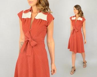 70's Chevron ZIP-FRONT Dress