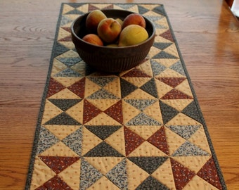 Patchwork Quilted Runner / Quilted Table Runner / Primitive Table Runner / Hourglass quilt block/ blue and brown