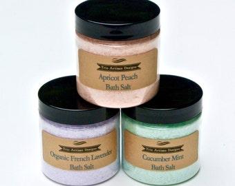 Bath Salts with Wood Spoon- Spa Bath, Aromatherapy, Therapeutic Bath Salt, Wood Spoon Scoop, Detox Bath Soak, 4 oz Luxury Bath Soak