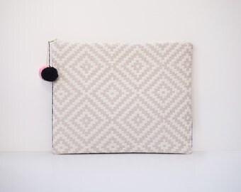 Ipad cover case geometric jacquard black and white