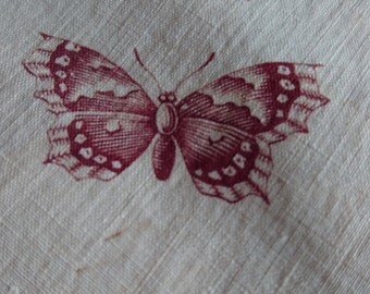 Adorable batch morceaux antique French printed cotton textile c1850 Butterflies and roses