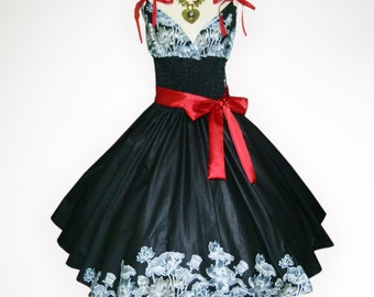 Charming Black Vintage Floral 50s Pin up Rockabilly Swing Dress Full Swing Skirt
