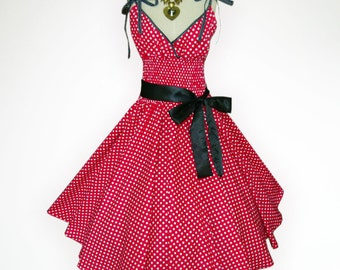 Charming Red & White Polka Dot 50s Pin up Rockabilly Swing Dress Full Swing Skirt