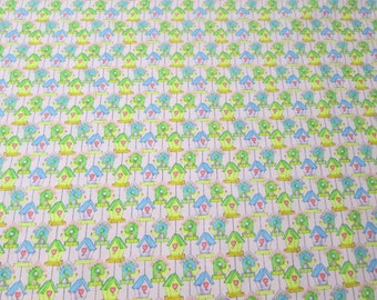Springtime Bird Houses on Pink Surgical Scrub Top / X Small - XX Large