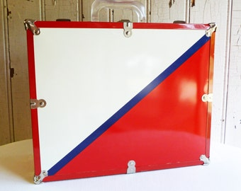 Vintage Metal Roller Skate Case - Red, White and Blue - Great Condition - 1970s - Home, Office, Studio Storage