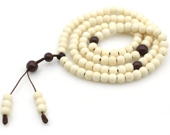 Tibetan Buddhist 108 8mm x 6mm Ox Bone Prayer Beads Mala  N108-NG001