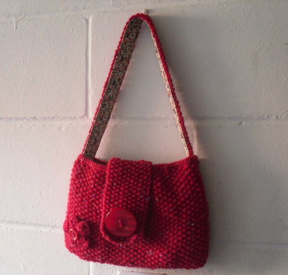 Knitting Pattern Evening Bag : Items similar to Hand Knitted Bag, Small Red Evening Bag ...