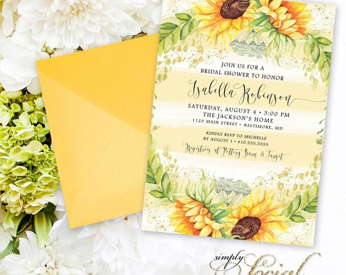 Sunflower Bridal Shower Invitation - Watercolor Stripes and Sunflowers Bridal Shower Invitation Printable