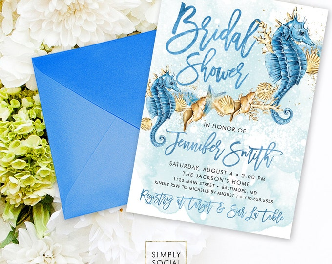 Under the Sea Beach Bridal Shower Invitation - Seahorse Seashell Starfish Coral Boho Watercolor Beach Invitation Sun and Sand Watercolor