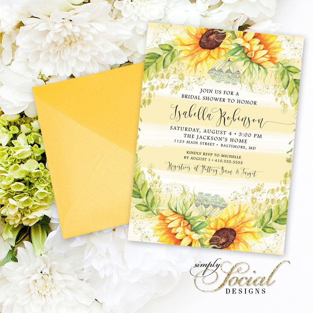 Sunflower Bridal Shower Invitation Watercolor Stripes and