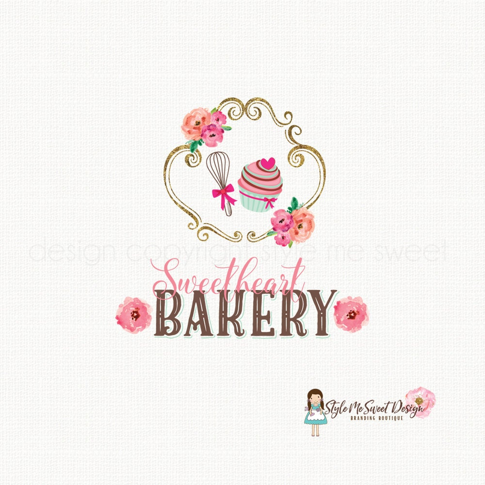 Cupcake Logo Design Bakery Logo Design By BloomingJuneDesignCo