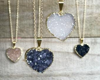 Druzy Necklace, Druzy Heart Necklace, Druzy Quartz Jewelry, YOU CHOOSE, Agate Necklace, 14K Gold Fill