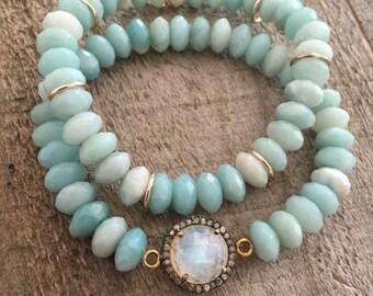Pave Diamond Bracelet, Diamond Stretch Bracelet, Moonstone Bracelet, Set of Beaded Stretch Bracelets, Amazonite Beads