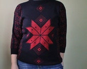 Vintage Christmas Sweater - 80s Ugly Christmas Sweater - Black and Red - Nordic - Snowflake - Small