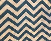 Chevron - Birch Fabrics - Skinny Chevron Teal - Certified Organic Cotton - 1 yard