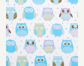 Sale - Purple and Blue Pastel Owls - Fabric - BTY