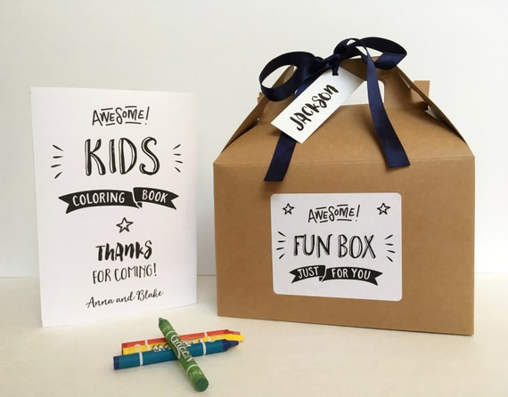 Wedding Gift Ideas For Kids: Personalized Children Wedding Activity Box / Wedding Reception