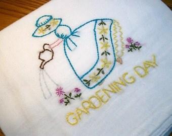 Dish (Tea) Towel with Sun Bonnet Sue Design Hand Embroidery Flour Sack Dish Towel Gardening Day