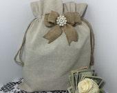 2 Natural Linen Money Dance Bags, 2 Wedding Dance Bags, Wedding Accessories, Burlap Wedding, Flower Girl, Rustic Wedding, Money Bag, Wedding
