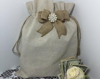 Wedding money dance bag, Jute wedding dance bag, Dollar dance bag, Wedding accessories, Burlap wedding, Flower girl, Rustic wedding, Wedding