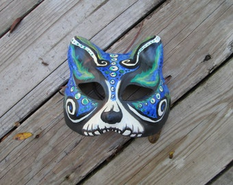 one of a kind, blue and green, ocean, Masquerade Cat mask, Day of the Dead, hand painted, ooak mask, aqua cat