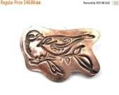 ON SALE Lovebird copper pendant or hair accessory precious metal clay copper