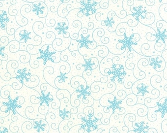 WINTER SALE Moda HO Ho Ho Deb Strain 1/2 Yard Snow White With Teal Blue Snowflakes 19704-16