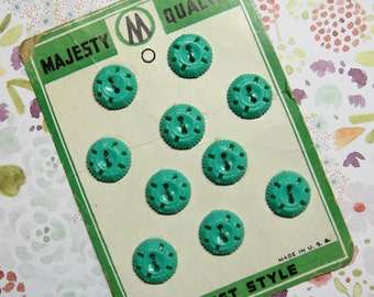 10 turquoise vintage plastic buttons on original card, Majesty Quality brand