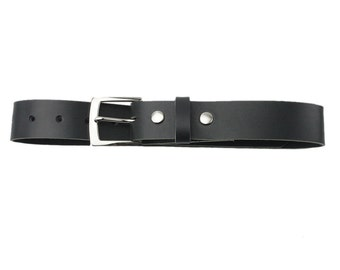 Leather Belt - Black - Made in the U.S.A. - BL-BLT-PLNP