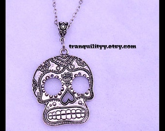 Skull Necklace, Day Of The Dead Necklace Friday The 13th  Skull Unisex Necklace , Black Faux Suede Cord By: Tranquilityy
