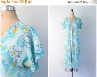 20% SALE vintage 60s sheer & lightweight duster jacket - summer robe / Mermaid Blue - aqua floral print bed jacket / Sweet Kawaii - fairy ke