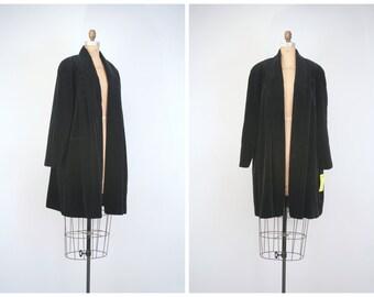 80s black velvet swing coat - deadstock with tags / 80s trapeze coat - velvet swing coat / gothic glam coat - vintage velvet coat