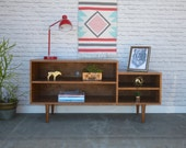 IN STOCK - Media Console- Solid Cherry - Teak Finish - Mid Century Modern Inspired - reserved