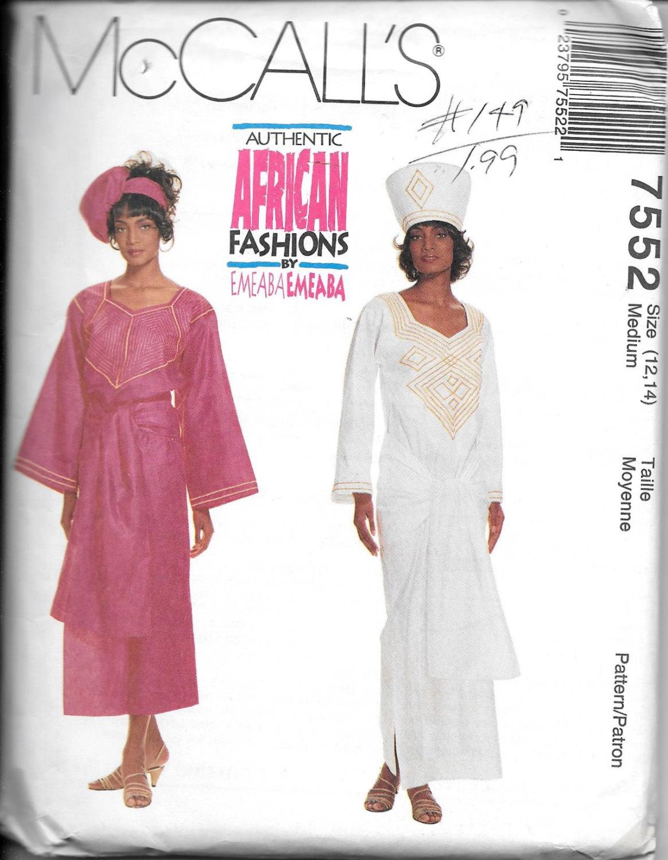 7552 étnico africano de McCall modas señoritas: vestido, Top, falda ...