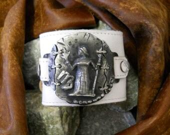 Virgo Mens leather wristband / cuff / bracelet