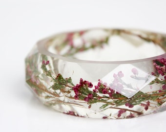 botanical jewelry - SMALL heather multifaceted eco resin bangle