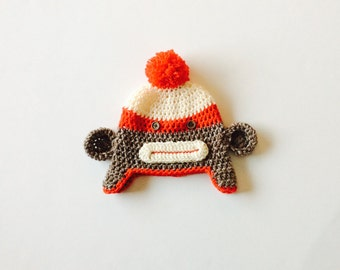 READY TO SHIP Classic Sock Monkey Hat, earflap monkey hat, brown/red/Aran colors, size 12-24 m