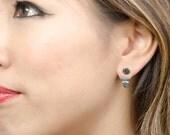 Sun & Moon Ear Jacket, Sterling Silver and Gold Plated, Geometric Jacket Earrings, Edgy Earrings, Modern Jewelry, Christmas Gift , EJ006