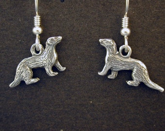 Sterling Silver Weasel Earrings on Heavy Sterling SilverFrench Wires