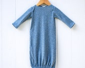 Newborn Gown - Stone Blue Heathered Hemp Organic Cotton Jersey - Organic Baby - Gender Neutral - Eco Friendly Clothing