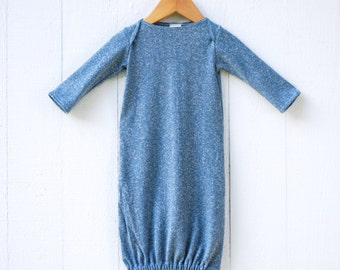 Newborn Gown - Stone Blue Heathered Hemp Organic Cotton Jersey - Organic Baby - Gender Neutral - Eco Friendly Clothing