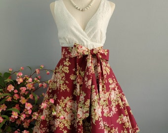 My lady II - Spring Summer Sundress White Lace Top Burgundy Floral Dress Red Floral Bridesmaid Dress Red Party Dress Floral Tea Dress XS-XL